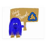 Ayuda azul que el planeta recicla postal