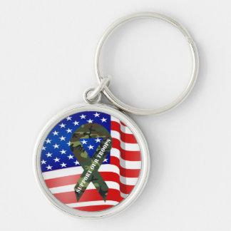 Ayuda de Camo del verde de la bandera americana nu Llavero Redondo Plateado