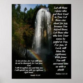 Ayuda de la cascada y del arco iris de la impresió posters