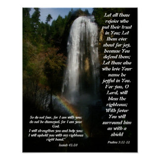 Ayuda de la cascada y del arco iris de la impresió póster