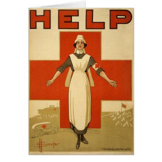 AYUDA de la lectura del poster de la enfermera del Felicitación