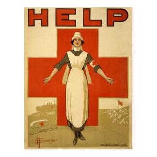 AYUDA de la lectura del poster de la enfermera del Postal