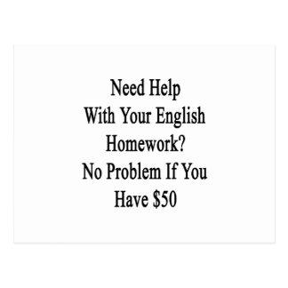 Ayuda de la necesidad con su preparación inglesa tarjeta postal