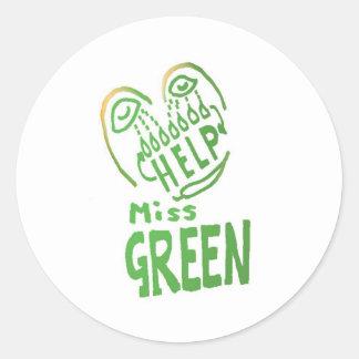 Ayuda de las necesidades de Srta. Green de NOVINO Pegatinas Redondas