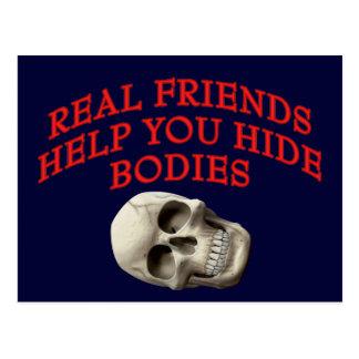 Ayuda de los amigos reales usted oculta cuerpos tarjetas postales