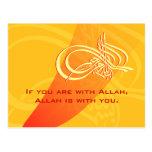 Ayuda de motivación Alá de la ayuda de Bismillah Tarjeta Postal