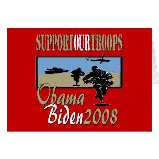 Ayuda de Obama Biden nuestras tropas Tarjeta De Felicitación