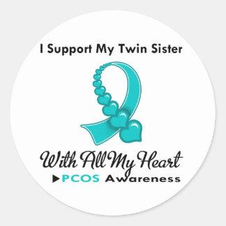 Ayuda de PCOS I mi hermana gemela Etiquetas Redondas