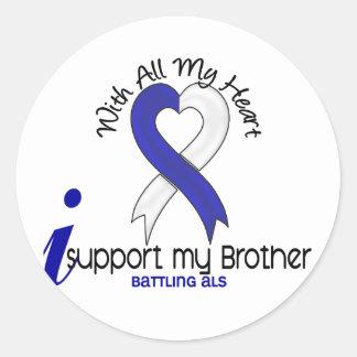 Ayuda del ALS I mi Brother Pegatina Redonda
