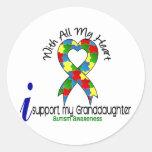 Ayuda del autismo I mi nieta Etiquetas Redondas