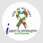 Ayuda del autismo I mis nietas Etiqueta Redonda