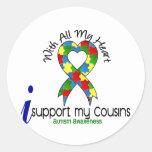 Ayuda del autismo I mis primos Pegatina Redonda