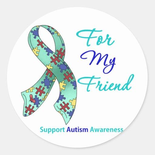 Ayuda del autismo para mi amigo pegatina redonda