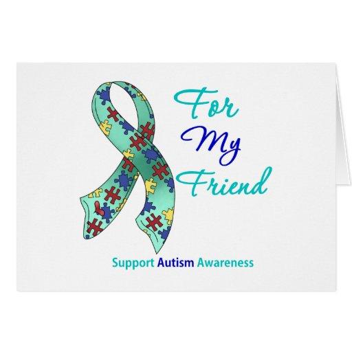 Ayuda del autismo para mi amigo tarjeta de felicitación