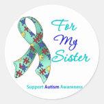Ayuda del autismo para mi hermana etiqueta redonda