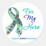 Ayuda del autismo para mi héroe etiqueta redonda