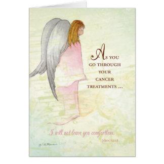Ayuda del cáncer, ángel religioso tarjeta de felicitación