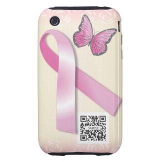 ayuda del cáncer de pecho de la plantilla del caso tough iPhone 3 carcasas