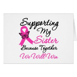 Ayuda del cáncer de pecho (hermana) tarjeta de felicitación