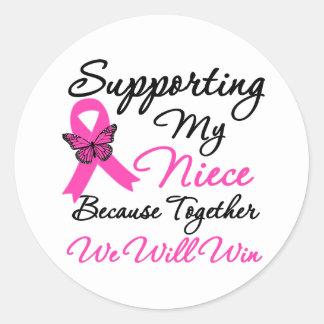 Ayuda del cáncer de pecho (sobrina) pegatina redonda