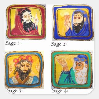 Ayuda del estudio de Talmud: Cuatro sabios Pegatina Cuadrada