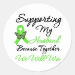 Ayuda del linfoma (marido) etiqueta redonda