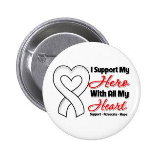 Ayuda del mesotelioma I mi héroe con todo mi Pin Redondo De 2 Pulgadas