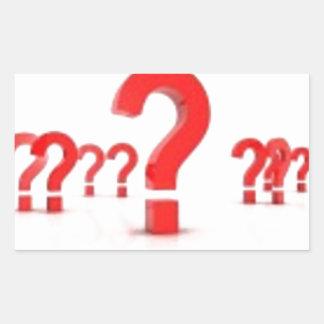 Ayuda del signo de interrogación pegatina rectangular