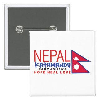 Ayuda del superviviente del terremoto de Nepal Pin Cuadrada 5 Cm