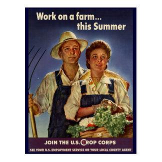Ayuda en la protección de la granja durante WWII Postales