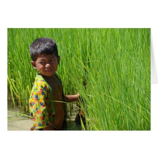 Ayuda hacia fuera en las empanadas del arroz tarjeta