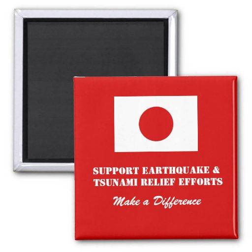 Ayuda Japón Imán Cuadrado