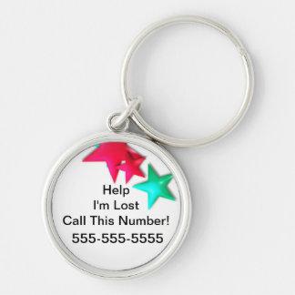 Ayuda - me pierden. Llame este número. Etiqueta de Llavero Personalizado