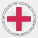 Ayuda médica calificada del primer Aider Etiquetas Redondas