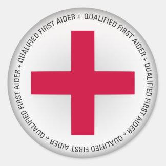 Ayuda médica calificada del primer Aider Pegatina Redonda