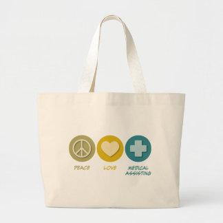 Ayuda médica del amor de la paz bolsas de mano