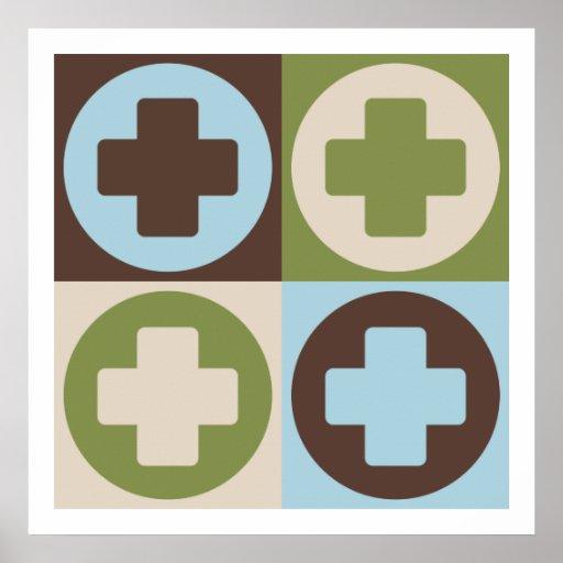 Ayuda médica del arte pop póster