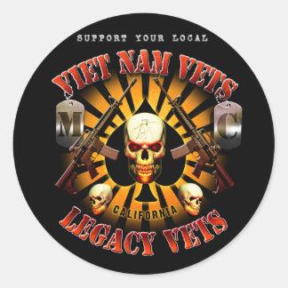 Ayuda negra Vietnam/diseño del cráneo de la bujía Pegatina Redonda