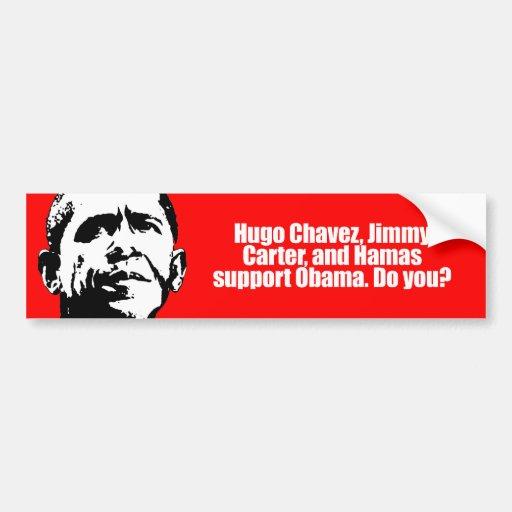 Ayuda obama de Anti-Obama - de Hugo Chavez y de Ha Etiqueta De Parachoque