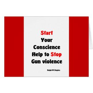Ayuda para parar violencia armada tarjeta de felicitación