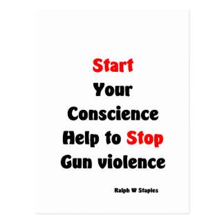 Ayuda para parar violencia armada tarjetas postales