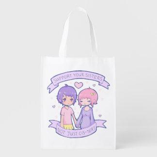 Ayuda reutilizable su bolso de las hermanas bolsas para la compra