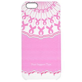 Ayuda rosada del cáncer de pecho de la cinta funda clearly™ deflector para iPhone 6 plus de unc