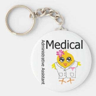 Ayudante administrativo médico llavero redondo tipo pin