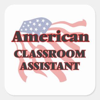 Ayudante americano de la sala de clase pegatina cuadrada