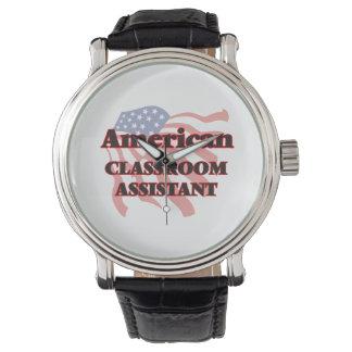 Ayudante americano de la sala de clase reloj de mano