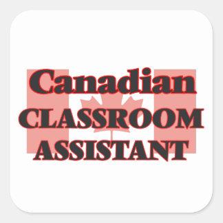 Ayudante canadiense de la sala de clase pegatina cuadrada