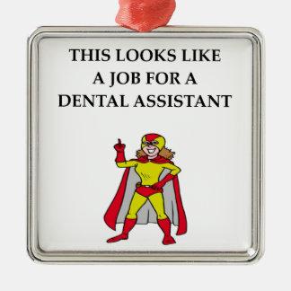 Ayudante de dentista adorno navideño cuadrado de metal