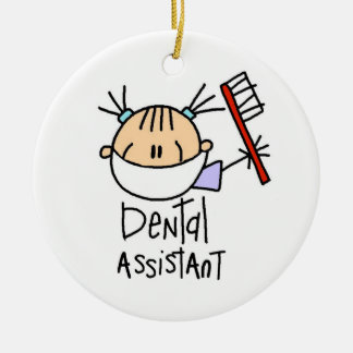 Ayudante de dentista adorno navideño redondo de cerámica