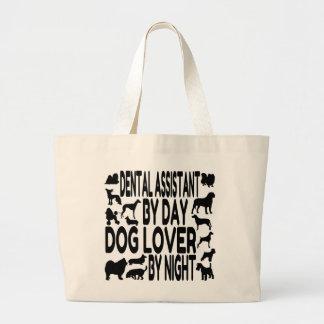 Ayudante de dentista del amante del perro bolsa tela grande